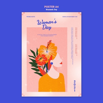 plantilla ilustrada del cartel del día de la mujer hermosa