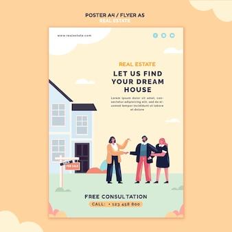Plantilla ilustrada de impresión inmobiliaria