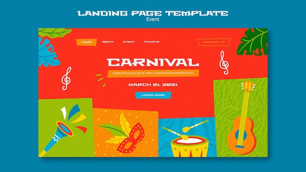 Plantilla ilustrada de página de destino de carnaval