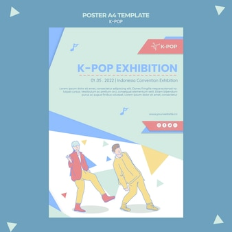 Plantilla ilustrada de póster k-pop a4
