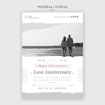 Plantilla de impresión de aniversario de pareja