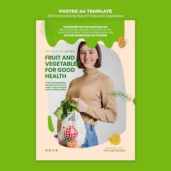 Plantilla de impresión de año de frutas y verduras