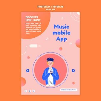 Plantilla de impresión de aplicación móvil de música