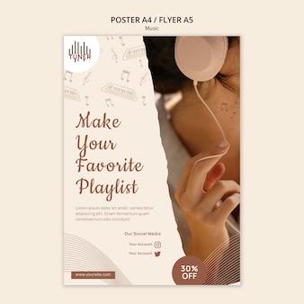 Plantilla de impresión de aplicación de música