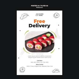 Plantilla de impresión de cartel de entrega gratuita de restaurante de sushi