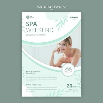 Plantilla de impresión de cartel de fin de semana de spa