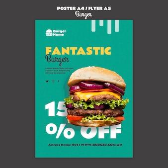 Plantilla de impresión de cartel de hamburguesa fantástica