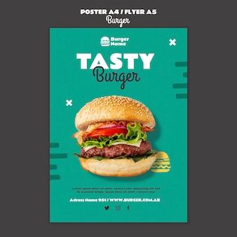 Plantilla de impresión de cartel de hamburguesa sabrosa