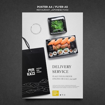 Plantilla de impresión de cartel de sushi en casa