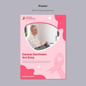 Plantilla de impresión de concienciación sobre el cáncer de mama