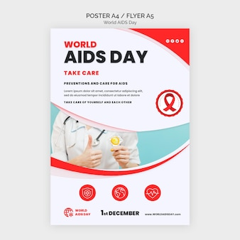 Plantilla de impresión de concientización sobre el día del sida