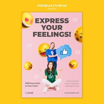 Plantilla de impresión del día de emoji