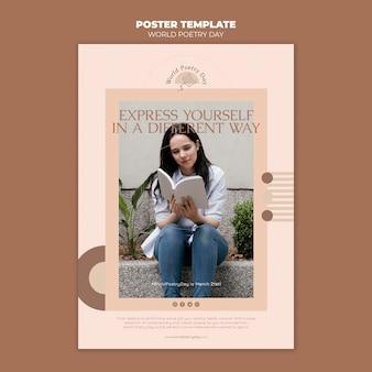 Plantilla de impresión del día de la poesía con foto