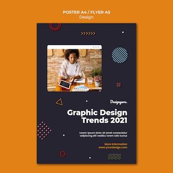 Plantilla de impresión de diseño gráfico con foto.