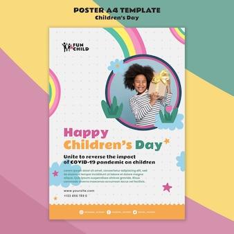 Plantilla de impresión divertida del día del niño colorido