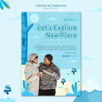 Plantilla de impresión explorando nuevos lugares
