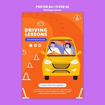 Plantilla de impresión ilustrada de la escuela de conducción