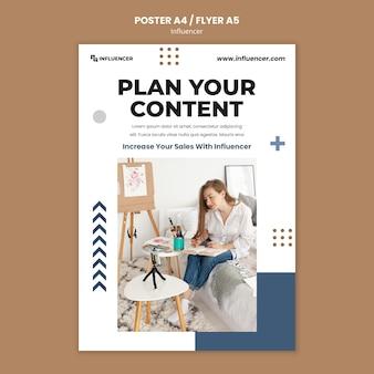Plantilla de impresión de influencers con foto