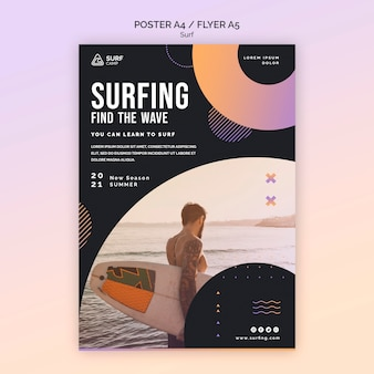 Plantilla de impresión de lecciones de surf