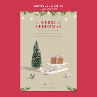 Plantilla de impresión navideña festiva minimalista