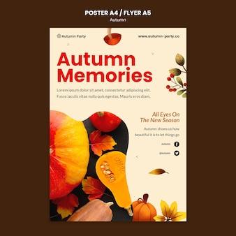 Plantilla de impresión de otoño con foto