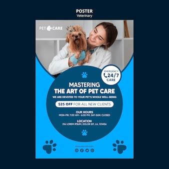 Plantilla de impresión de póster de cuidado de mascotas de calidad