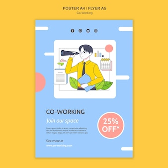 Plantilla de impresión de trabajo conjunto ilustrada