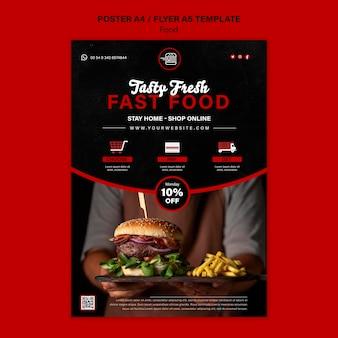 Plantilla de impresión vertical de comida rápida
