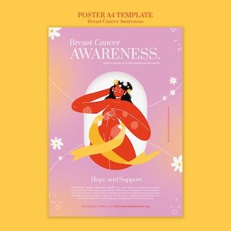 Plantilla de impresión vertical de concienciación sobre el cáncer de mama