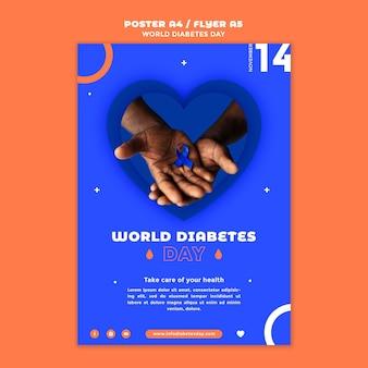 Plantilla de impresión vertical del día mundial de la diabetes