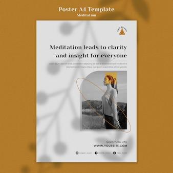 Plantilla de impresión vertical de estilo de vida de meditación