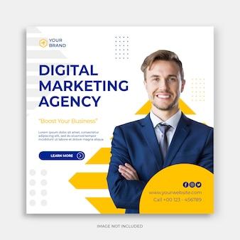 Plantilla de instagram banner de publicación de redes sociales de marketing de negocios digitales o folleto cuadrado