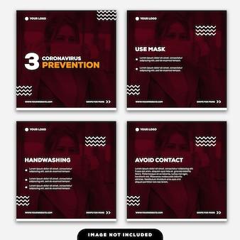 Plantilla instagram post banner 3 consejos prevención del coronavirus
