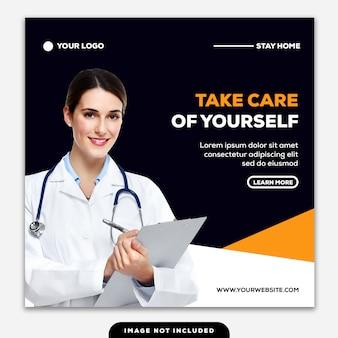 Plantilla instagram post banner cuídate a ti mismo enfermera chequeo