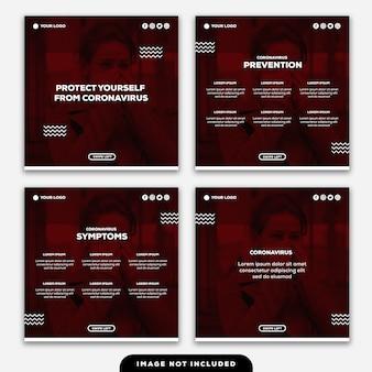 Plantilla instagram post banner protéjase contra el coronavirus consejos síntomas de prevención