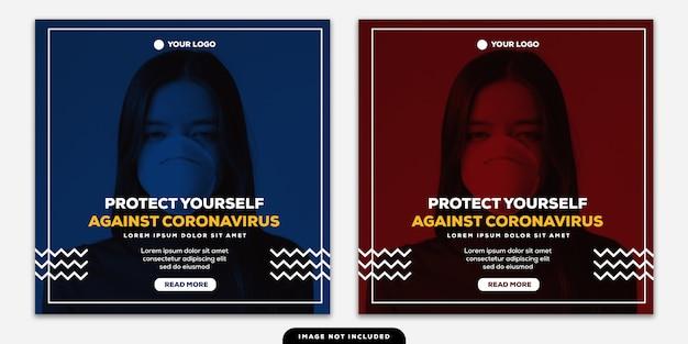 Plantilla instagram post banner protéjase contra el coronavirus duotone rojo y azul