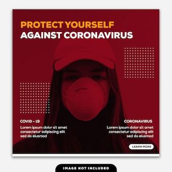 Plantilla instagram post banner protéjase contra coronavirus niña duotono rojo