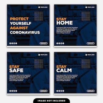 Plantilla instagram post banner protéjase contra el coronavirus quédese en casa manténgase seguro mantenga la calma