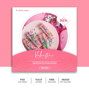 Plantilla instagram post food cake pink