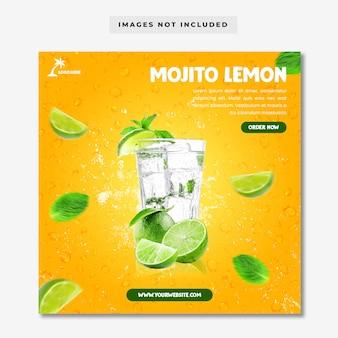 Plantilla de instagram de redes sociales de menú de mojito lemon