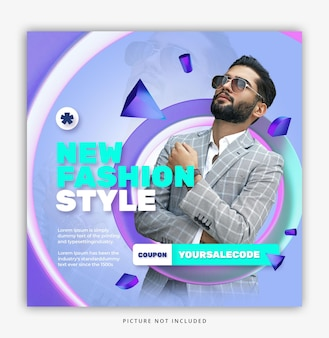 Plantilla de instagram de redes sociales de moda de estilista 3d