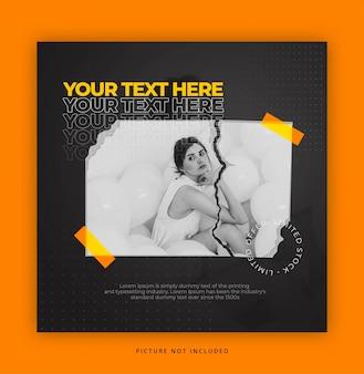 Plantilla de instagrama de estilo de papel con efecto de texto