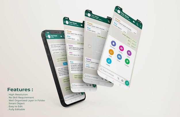 Plantilla de interfaz de whatsapp en teléfono móvil y maqueta de presentación de la aplicación ui ux