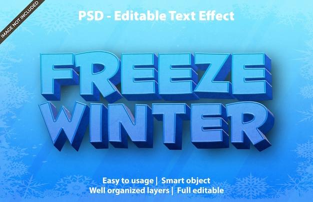 Plantilla de invierno congelado con efecto de texto