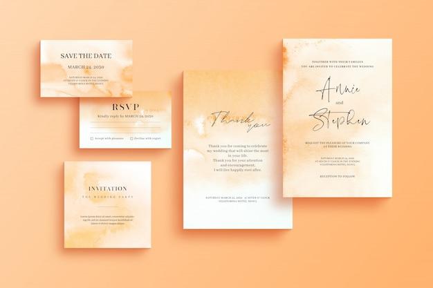 Plantilla de invitación de acuarela, conjunto de papelería de boda