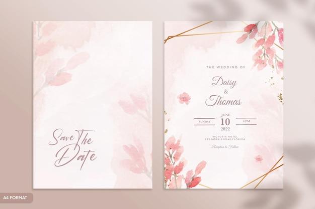 Plantilla de invitación de boda de acuarela de doble cara con flor roja