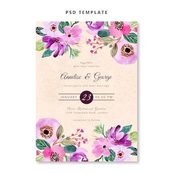 Plantilla de invitación de boda acuarela floral púrpura rosa