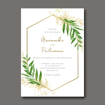 Plantilla de invitación de boda con acuarela y hojas doradas.