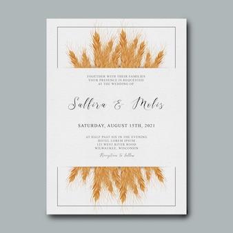 Plantilla de invitación de boda con decoración de árbol de trigo en acuarela