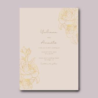 Plantilla de invitación de boda con decoración de dibujo de flor dorada